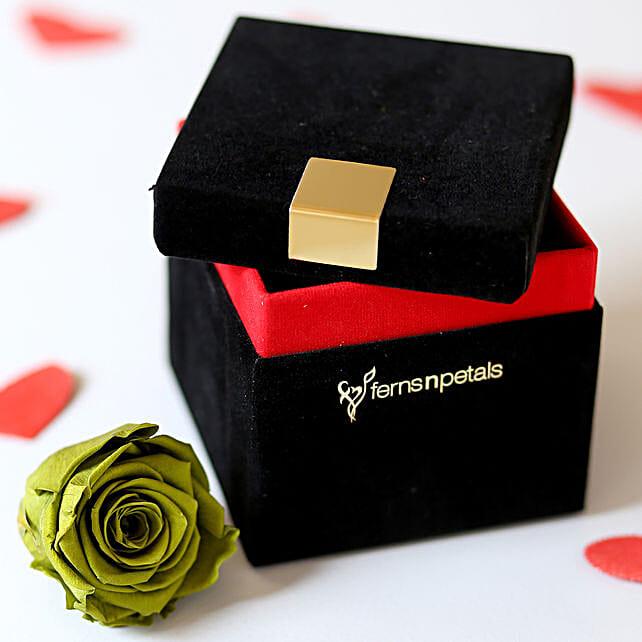 Olive- Emerald Green Forever Rose in Velvet Box: