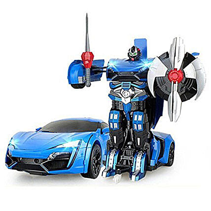 One Button Transforming Car Blue: Toys and Games