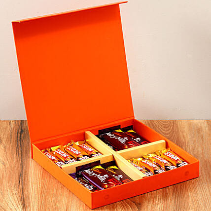 Orange Gift Box Of Chocolates: Cadbury Chocolates