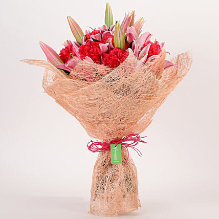 Oriental Lilies & Carnations Mixed Bouquet: Premium Flowers