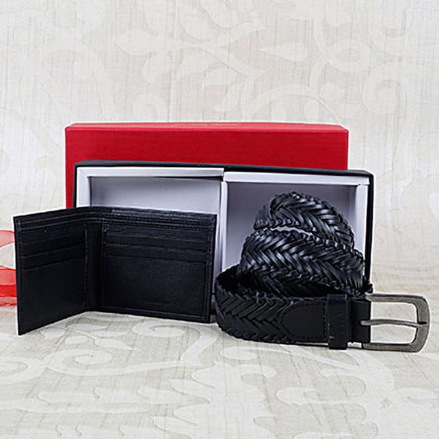 Paradigm Black Braided Belt Combo: Handbags and Wallets Gifts