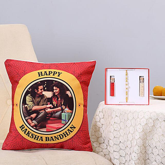 Pearl Rakhi & Personalised Cushion Combo: Send Rakhi With Cushions