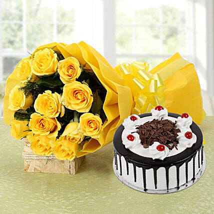 Yellow Roses Bouquet & Black Forest Cake: Flower Bouquet with Cake