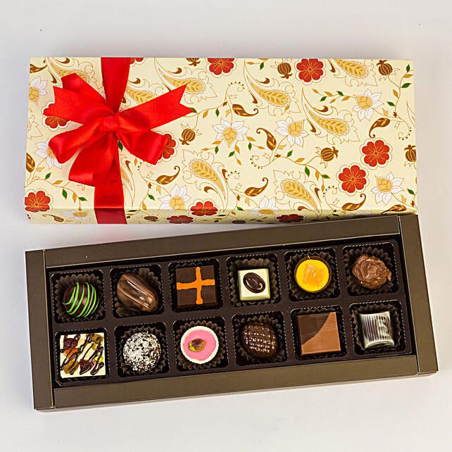 Permium Floral Box Of Chocolates- 12 Pcs: Ganesh Chaturthi Gifts