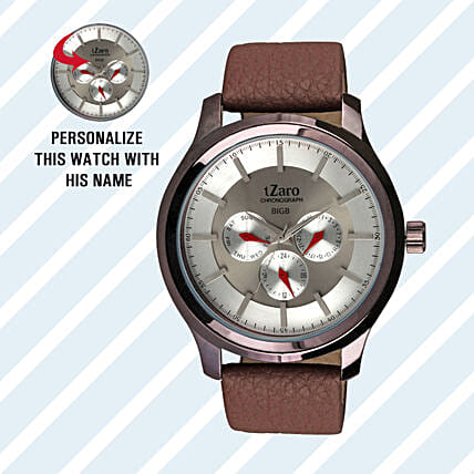 Personalised Classy Brown Watch For Him: Personalised Watches