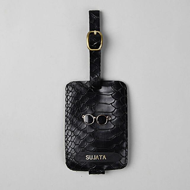 Personalised Croco Black Luggage Tag: