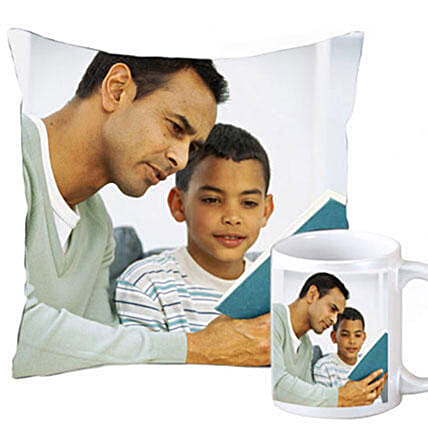 Personalised Cushion & Mug Combo For Dad: Fathers Day Personalised Gifts
