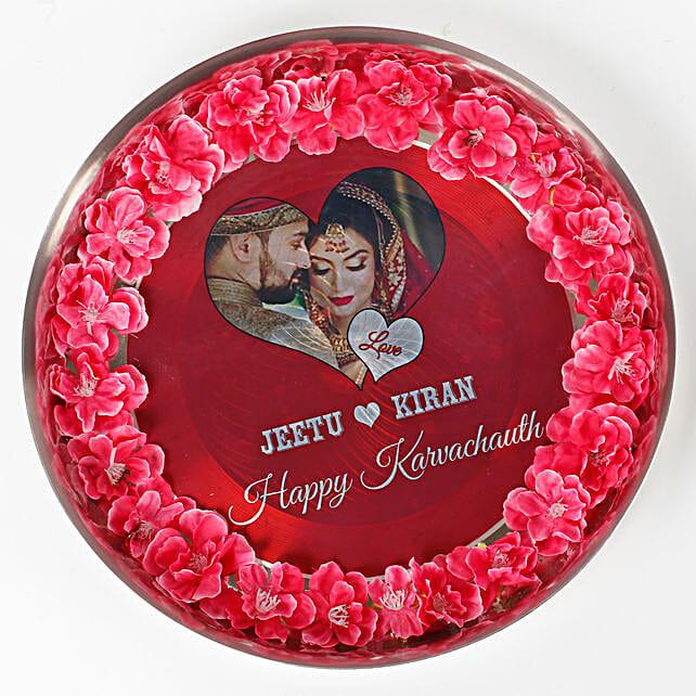 Personalised Decorated Karwa Chauth Thali: Karwa Chauth Personalised Gifts
