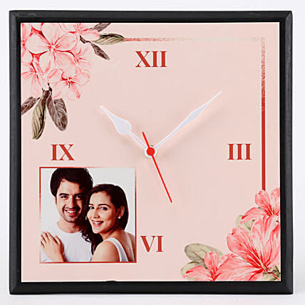 Personalised Floral Print Wall Clock: Clocks