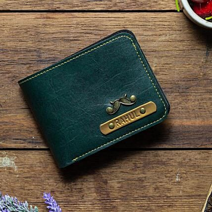 Personalised Forest Green Mens Wallet: