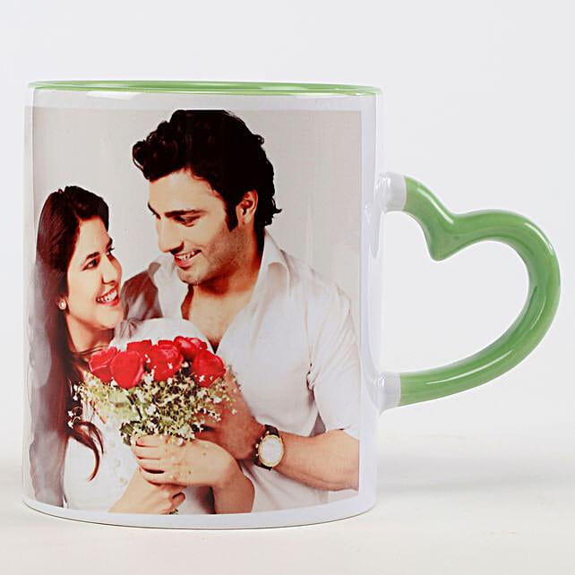 Personalised Green Heart Shaped Handle Mug: Custom Photo Coffee Mugs