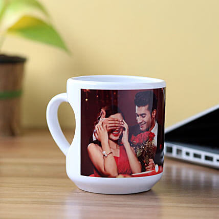 Personalised Inner Heart Shaped Mug: Custom Photo Coffee Mugs