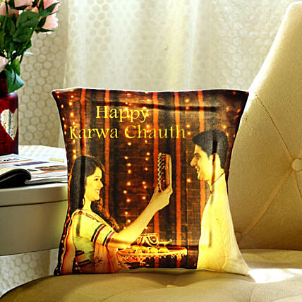 Personalised Karwa Chauth Special LED Cushion: All Gifts Karwa Chauth