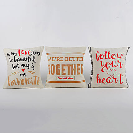 Personalised Love Message Cushions Set Of 3: Personalised Gifts Combos