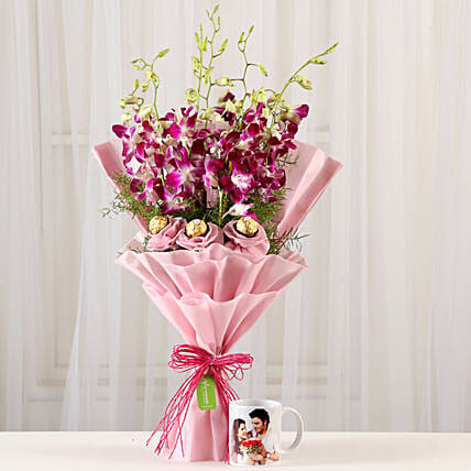 Personalised Mug & Chocolaty Orchids Bouquet: Send Orchids