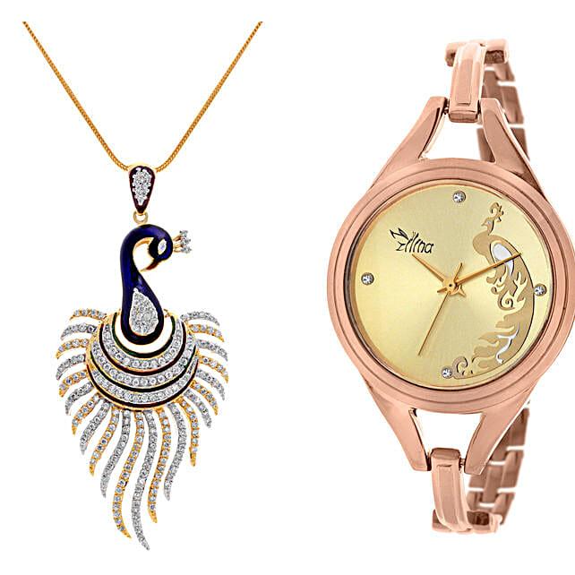 Personalised Peacock Watch & Pendant: Send Jewellery Gifts