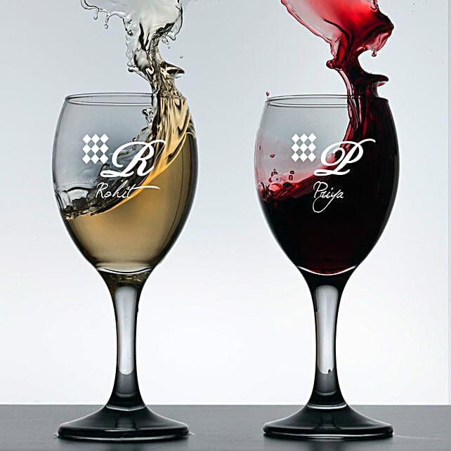 Personalised Set Of 2 Wine Glasses 1020: