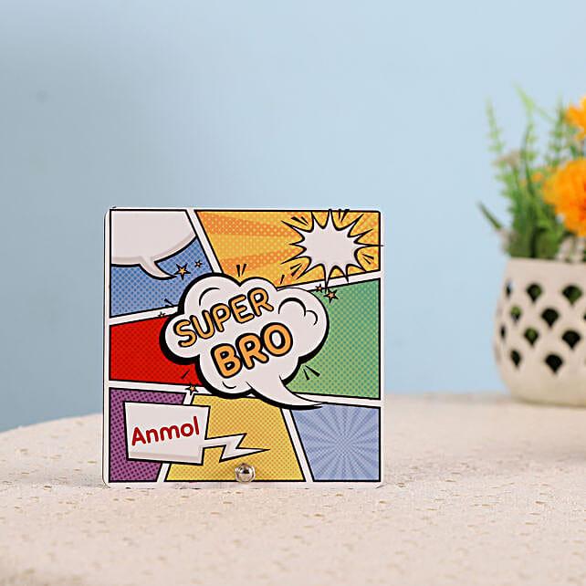 Personalised Super Bro Table Top: Bhai Dooj Personalised Gifts