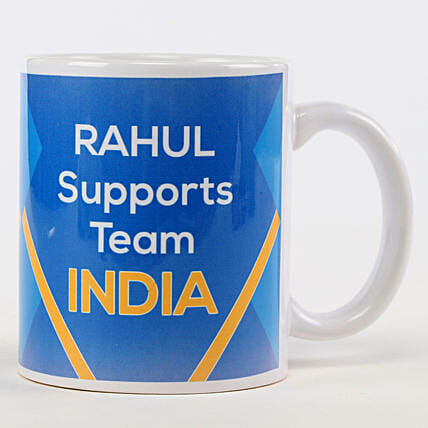 Personalised Support Team India Blue Mug: