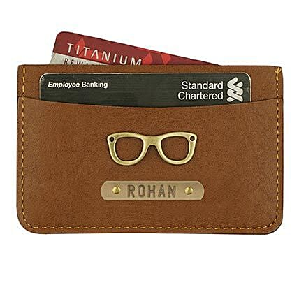 Personalised Tan Brown Card Holder: Fashion Accessories