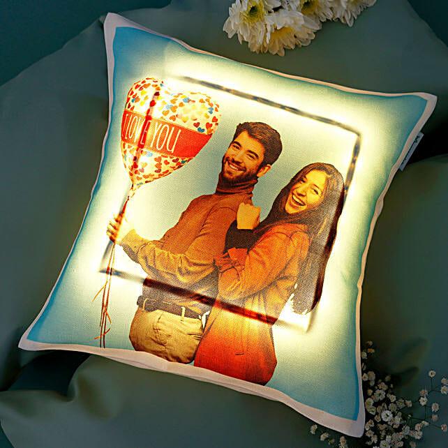 Personalised V-Day LED Cushion: Personalised Cushions