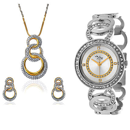 Personalised Watch With Pendant & Earrings: