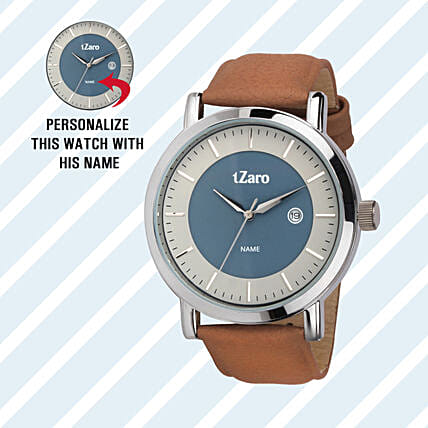 Personalised White & Blue Dial Watch For Him: Personalised Watches