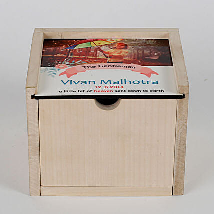 Personalised Wooden Box With Slider Cover & Chocolates: