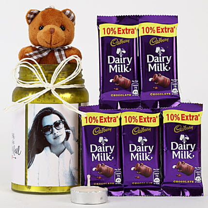 Personalised Yellow Jar & Chocolate Combo: Cadbury Chocolates
