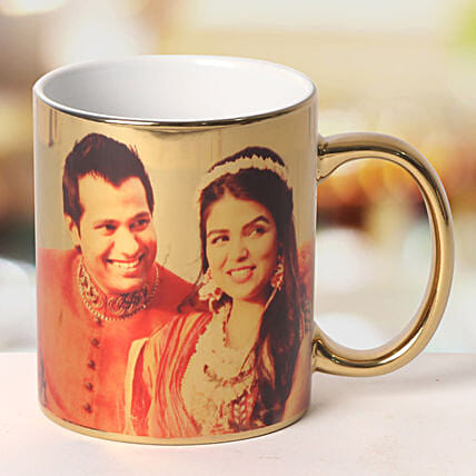 Personalized Ceramic Golden Mug: Send Gifts for 10Th Anniversary
