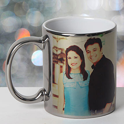 Personalized Ceramic Silver Mug: Send Gifts to Gujarat