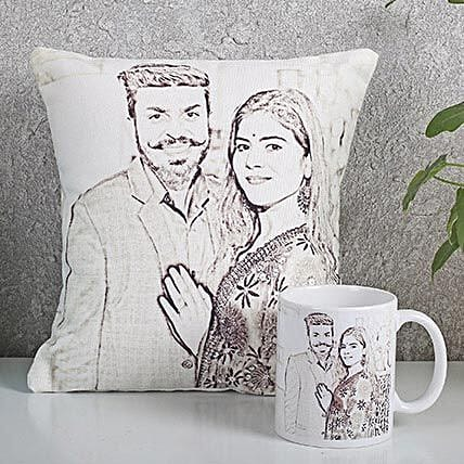 Personalized Couple Cushion N Mug Combo: Cushions and Mugs Combo