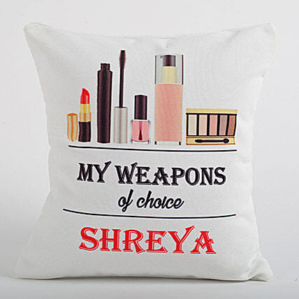 Personalized Cushion For Makeup Queen: Personalised Cushions for Friendship Day
