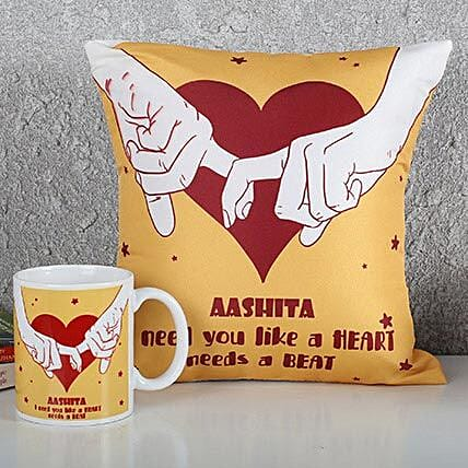 Personalized Heart Cushion N Mug Combo: Personalised Gifts Combo for Valentine's Day