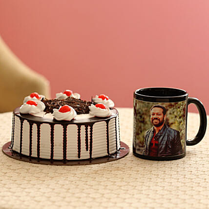 Picture Mug & Black Forest Cake Combo: Cakes N Personalised Gifts