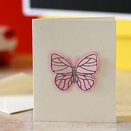 Pink Butterfly Greeting Card: Gifts to India