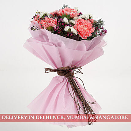 Pink Carnations Wax Flowers Bouquet: Carnations