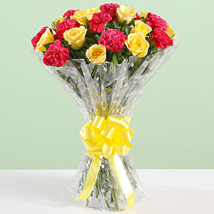 Pink Carnations & Yellow Roses Bouquet: Roses
