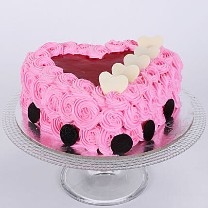 Pink Floral Heart Cake: Send Heart Shaped Cakes