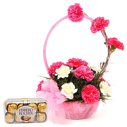 Pink N White Basket Of Flavours: Return Gifts