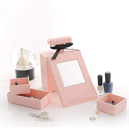 Pink Perfume Bottle Shaped Cosmetic Organizer: Unusual Gifts