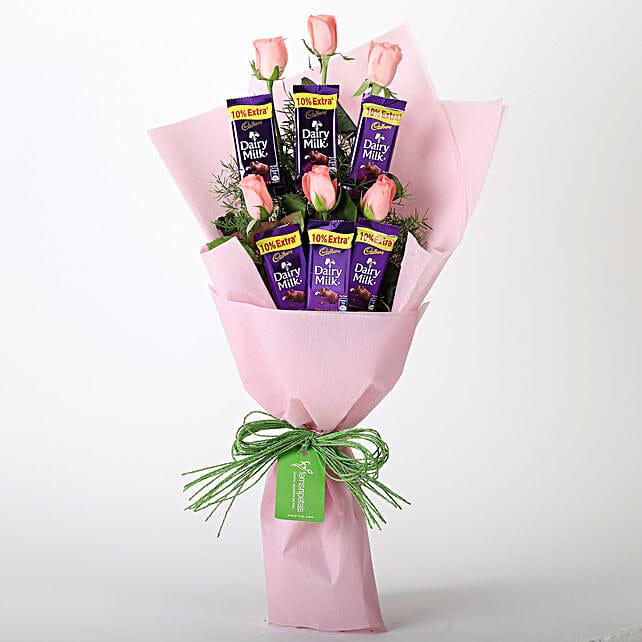Pink Roses & Dairy Milk Chocolate Bouquet: Cadbury Chocolates