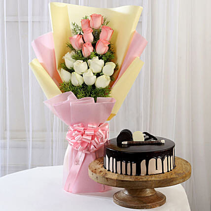 Pink & White Roses & Choco Cream Cake: Flowers & Cake Combos