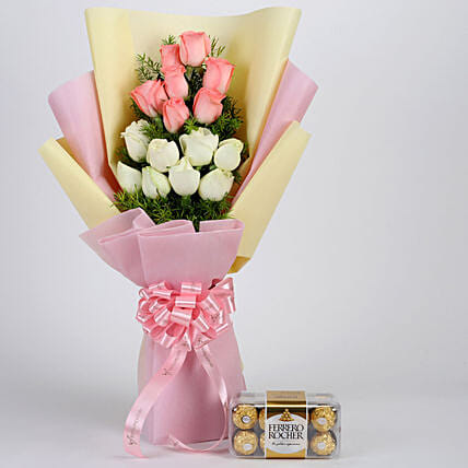 Pink & White Roses & Ferrero Rocher Box: Chocolate Combos For Mothers Day