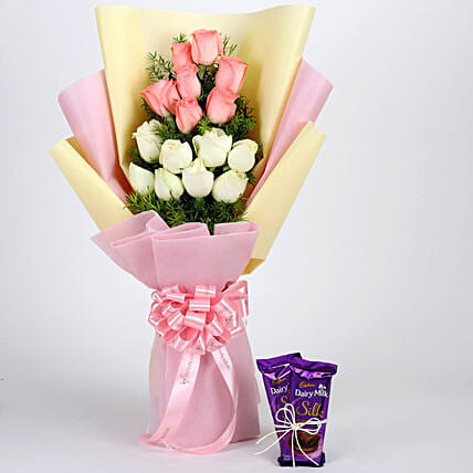 Pink & White Roses with Dairy Milk Silk: Combo Gifts