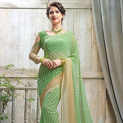 Polka Dots Green Saree: Apparel Gifts