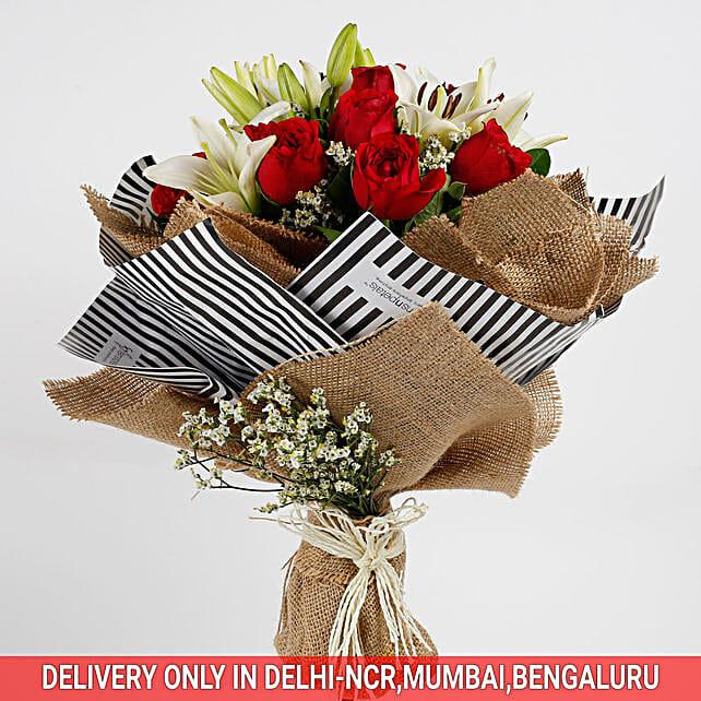 Premium Red Roses Asiatic Lilies Bouquet: Send Roses