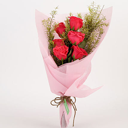 Pristine 6 Pink Roses Bouquet: Pink Flowers