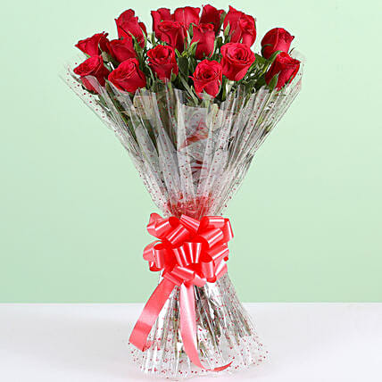 Pure Romance-18 Red Roses Bouquet: Red Flowers