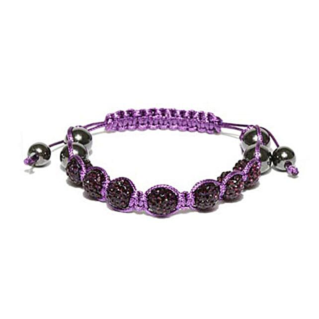 Purple Beaded Macrame Bracelet: Friendship Day Bands